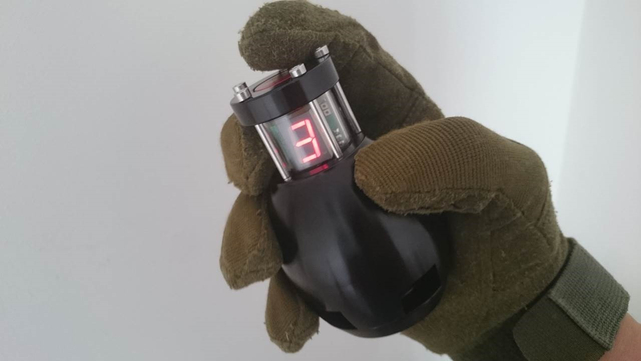 Photo of the MAS-G Advanced Airsoft Grenade with LED display