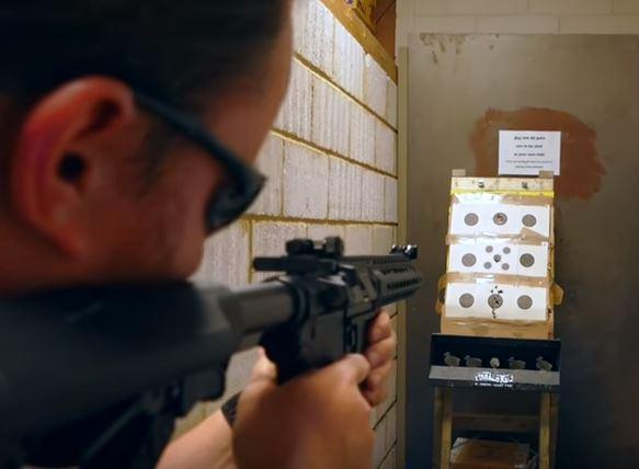 Dan using the G&G SRL airsoft rifles in range at Surplus Store Crawley