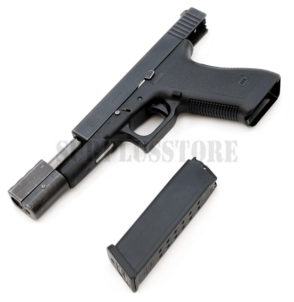 Deactivated gun Glock 17 pistol with Compensator found at Crawley Surplus Store