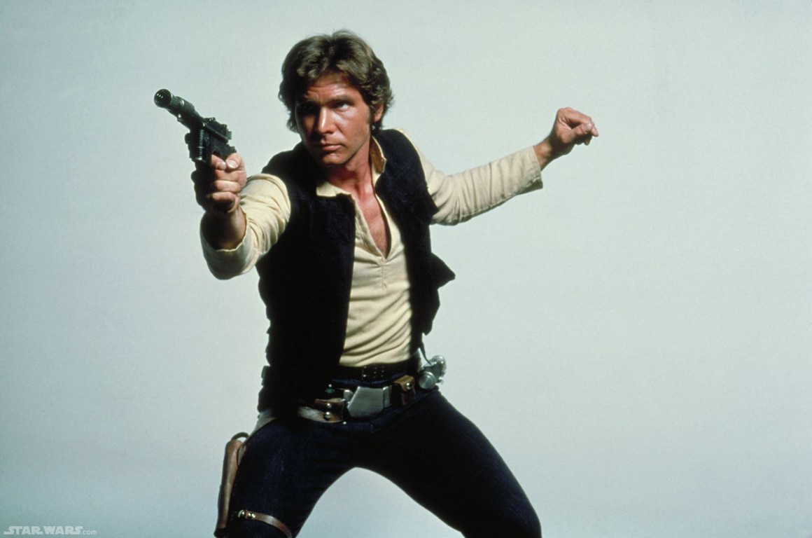 Han Solo posing with his DL-44 blaster, similar to our air pistol selection