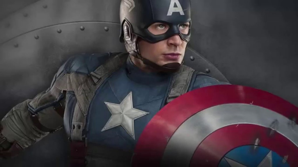 Captain America posing with his shield in camo clothing