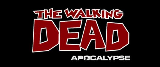 The Walking Dead Apocalypse logo, where you use modified airsoft guns to shoot zombies