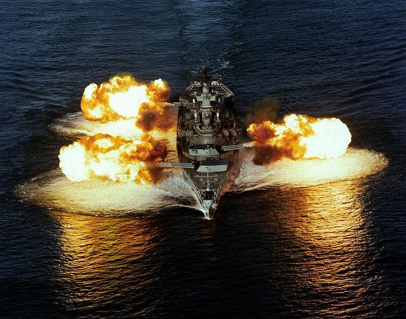 USS New Jersey fires all main guns in December 1986