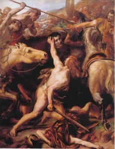 Painting of Flaminius being decapitated