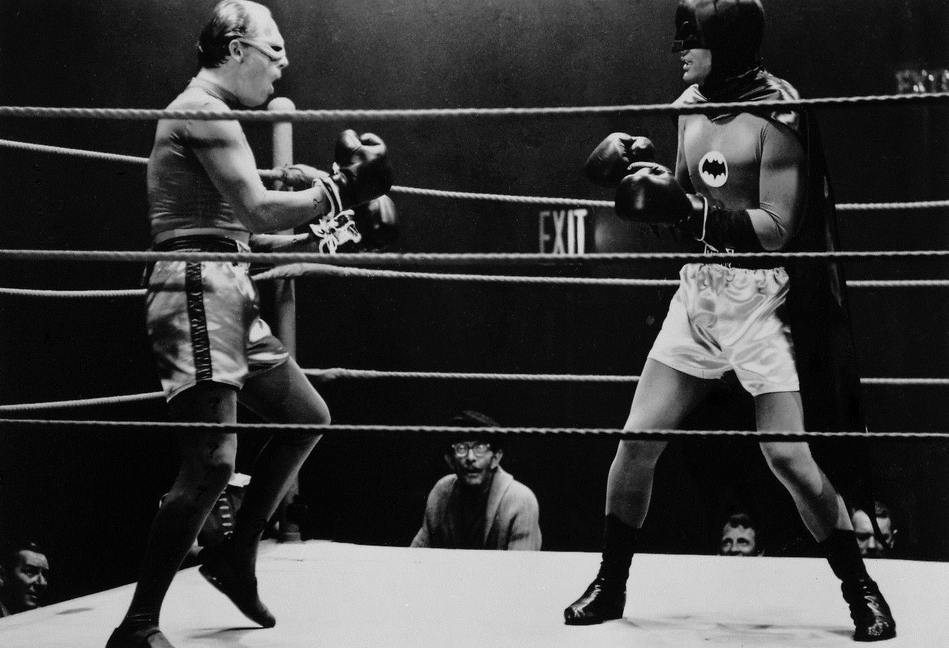 Batman from the 1960s in a boxing ring