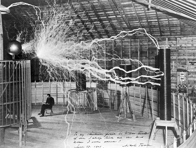 Nikola Tesla in his laboratory in Colorado Springs, around 1899