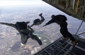 Soldiers making a HALO jump from 30,000 feet