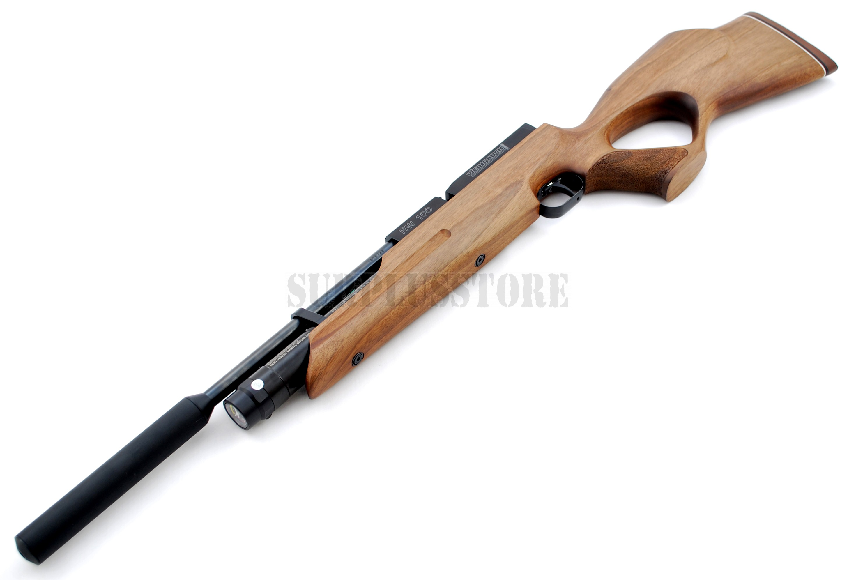 Air rifle which can be used with a silencer