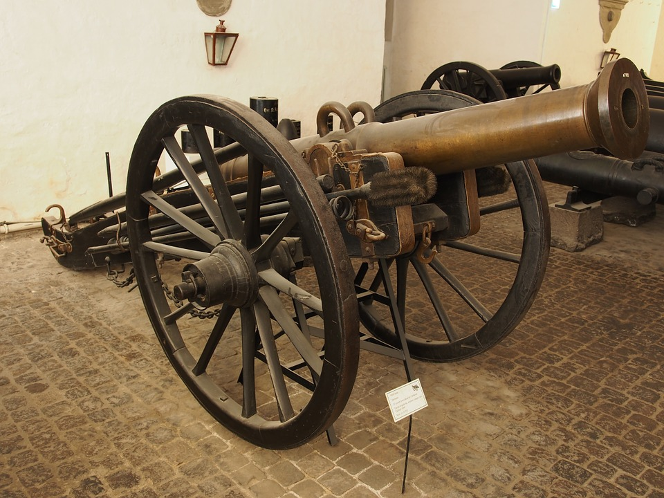 A bronze cannon in a museum