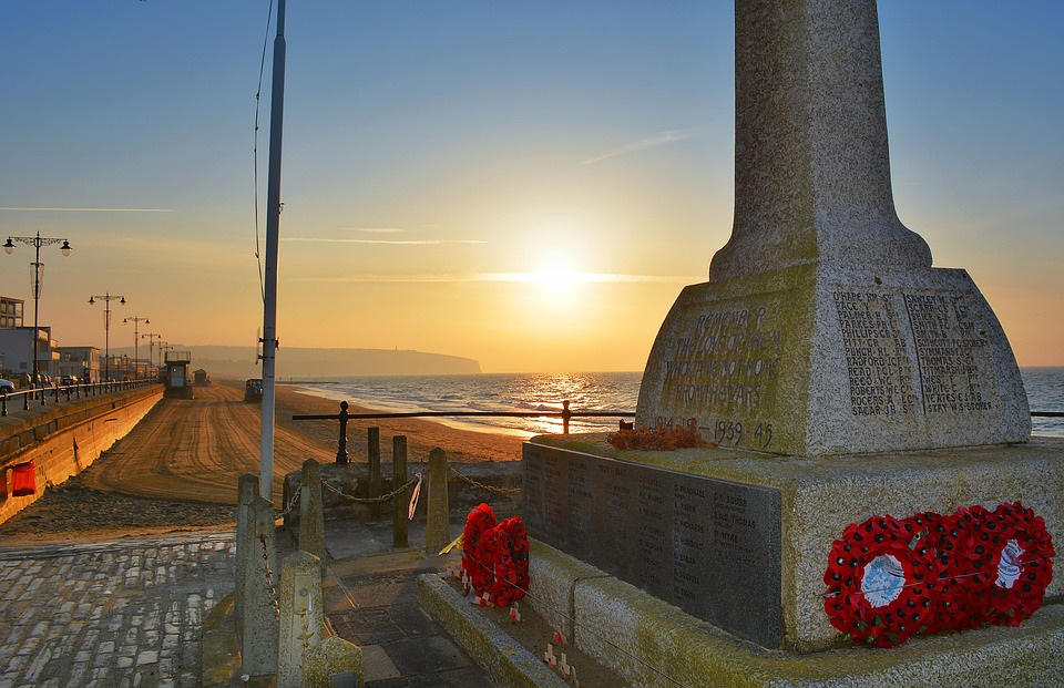 A war memorial by the seaside in the United Kingdom