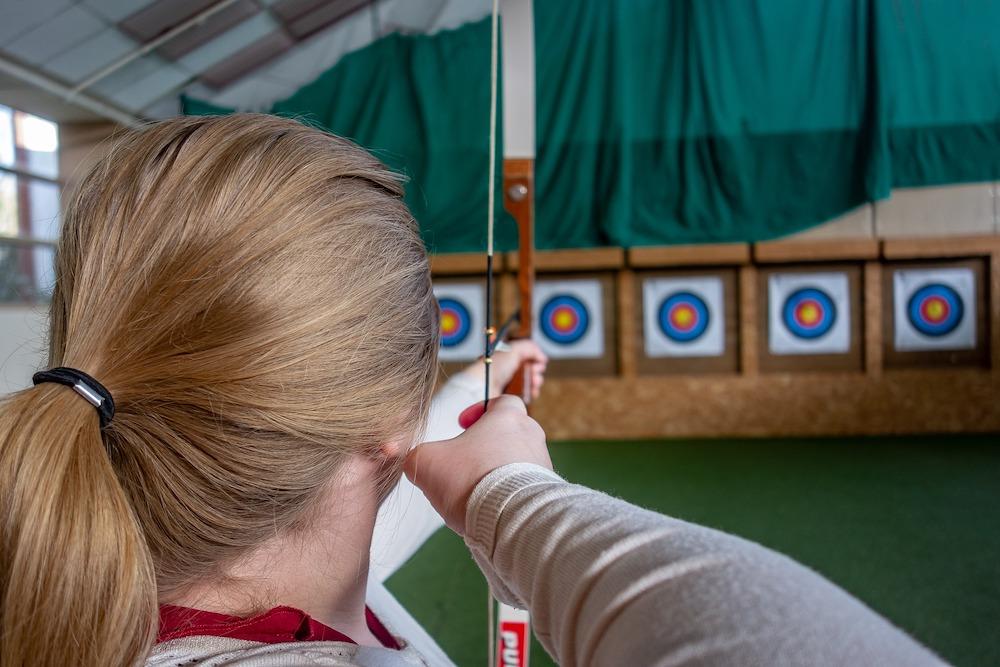 A woman doing archery