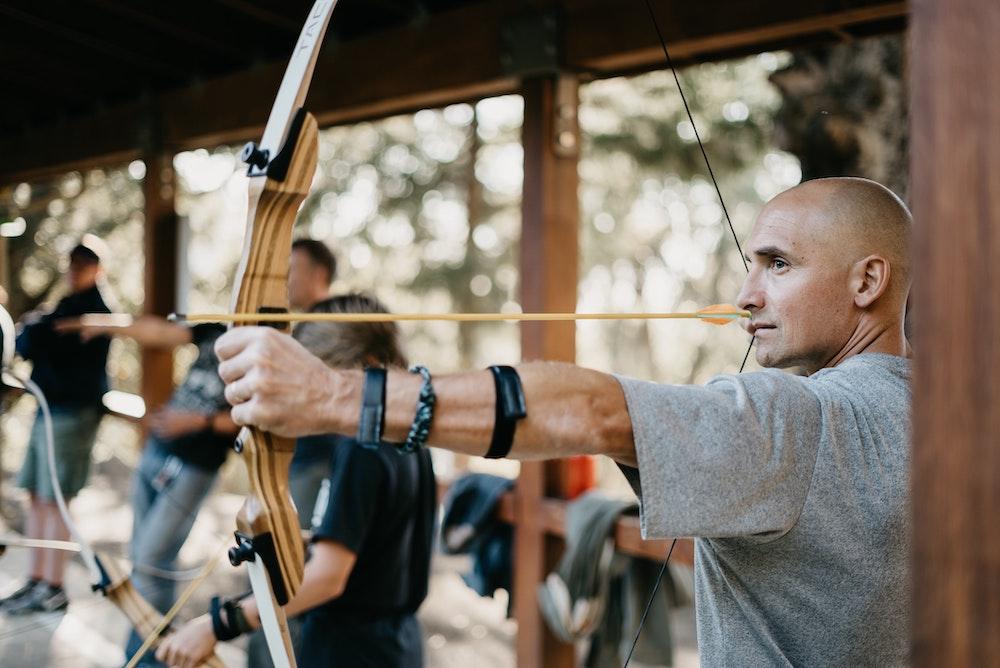 A man doing an archery