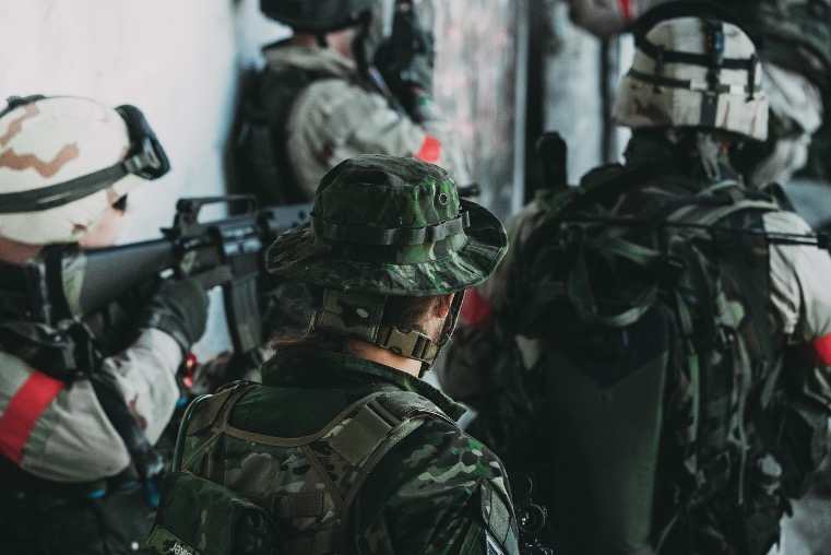 Group of airsoft players