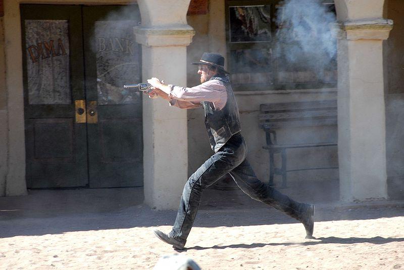 Cowboy shootout re-enactment