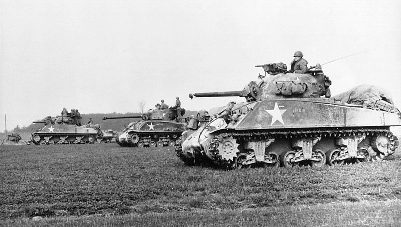 Sherman tank used to ram German King Tiger