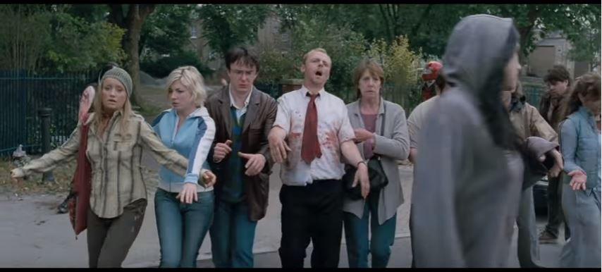 Acting like zombies in Shaun of the Dead