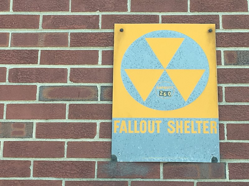 A sign for a fallout shelter