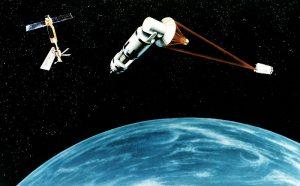 artist concept of US space laser defence system