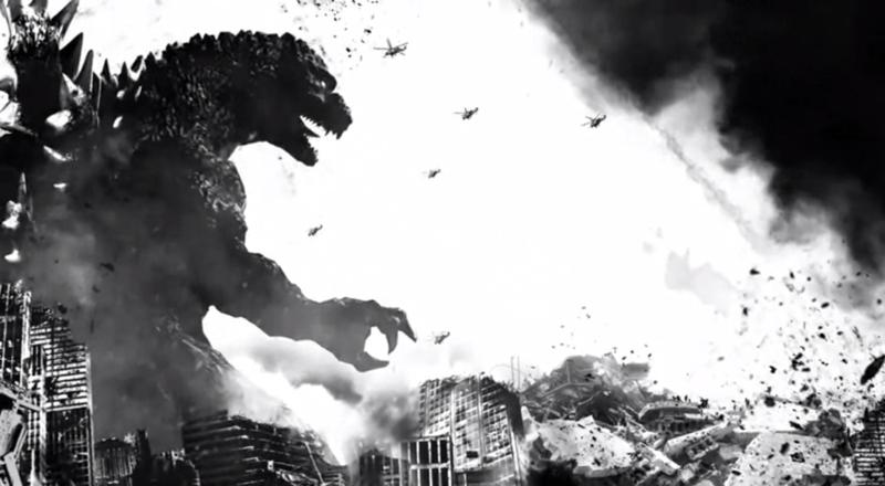 Godzilla v military in black and white