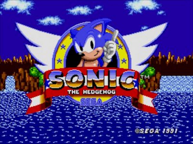 The original logo and menu screen from Sonic the Hedgehog.