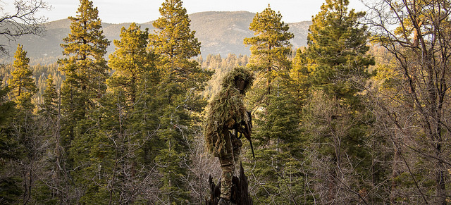 An airsoft sniper stood amongst the treetops