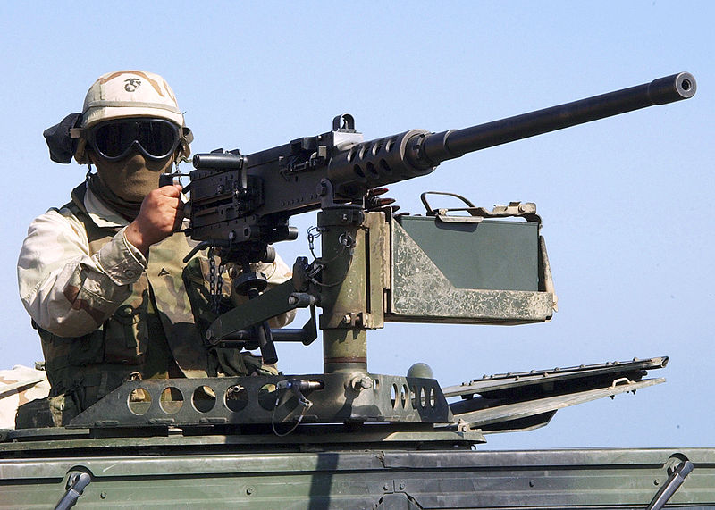 Gunner manning an M2 Browning on a vehicle