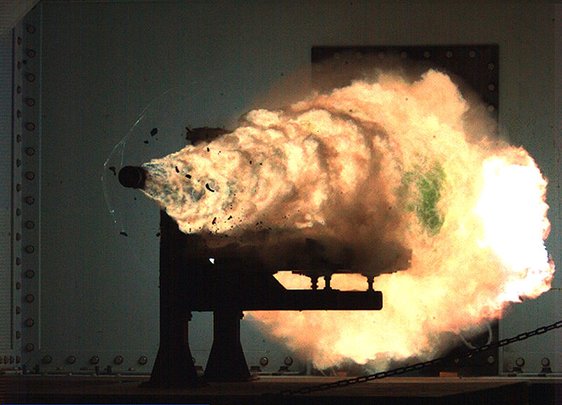 A railgun in action on a Navy vessel.