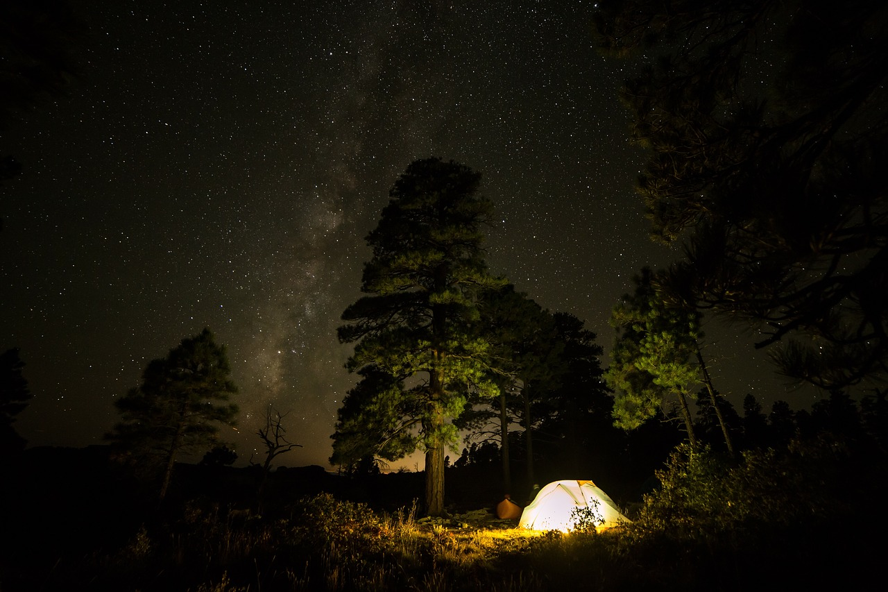 A lit-up tent under the stars.