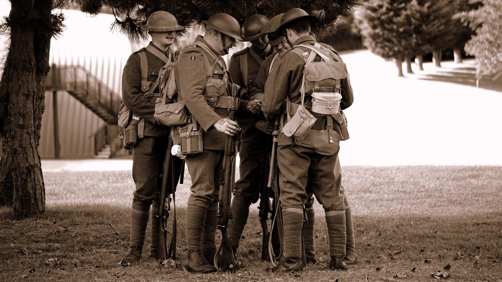 A group of World War One soldiers gathered