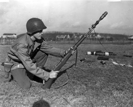 M1 Garand rifle on the battlefield.