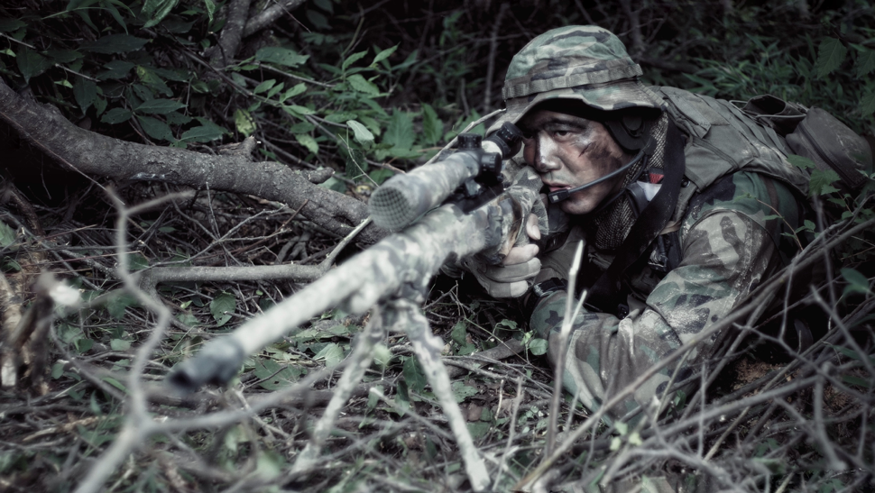 Sniper in camouflage