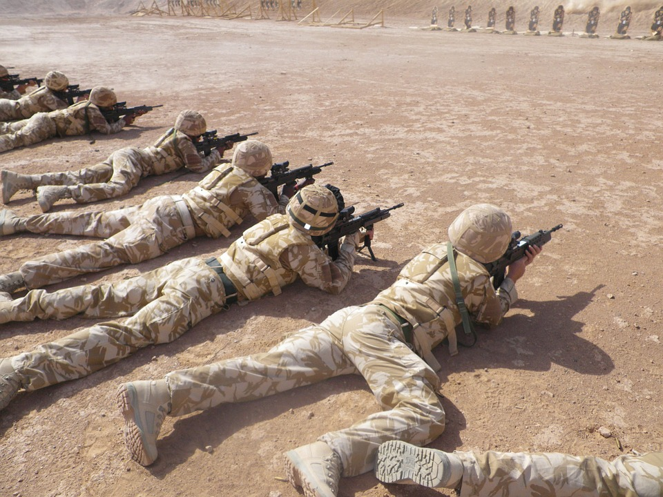 Soldier firing weapons at targets