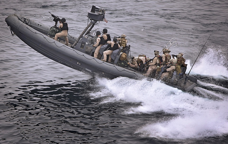 Marines in a boat training exercise