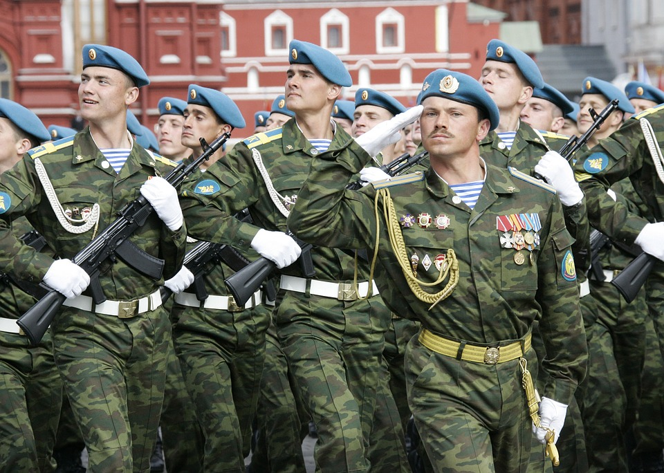 Russian soldiers at military display