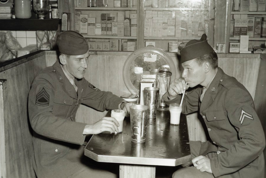 Soldiers drinking ice cream milkshakes
